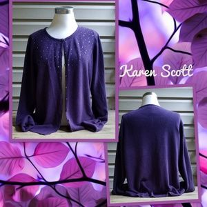 Karen Scott Fall Purple cardigan